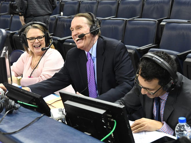 Dan Bonner, center, gets ready for the television broadcast of the Wake Forest-UVA men's basketball game Tuesday, Jan. 22.