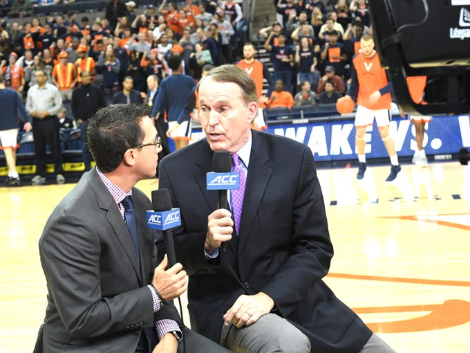 Dan Bonner and Justin Kutcher record the pregame show Tuesday, Jan. 22, at UVA's John Paul Jone Arena. The two men were the television announcers for that night's basketball game between Wake Forest and Virginia.