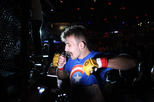 Tallahassee's Timothy Lopez fought but lost to Anthony Murphy by first-round TKO during the main event of Combat Night 100 Pro at The Moon Nightclub on Jan. 26, 2019.