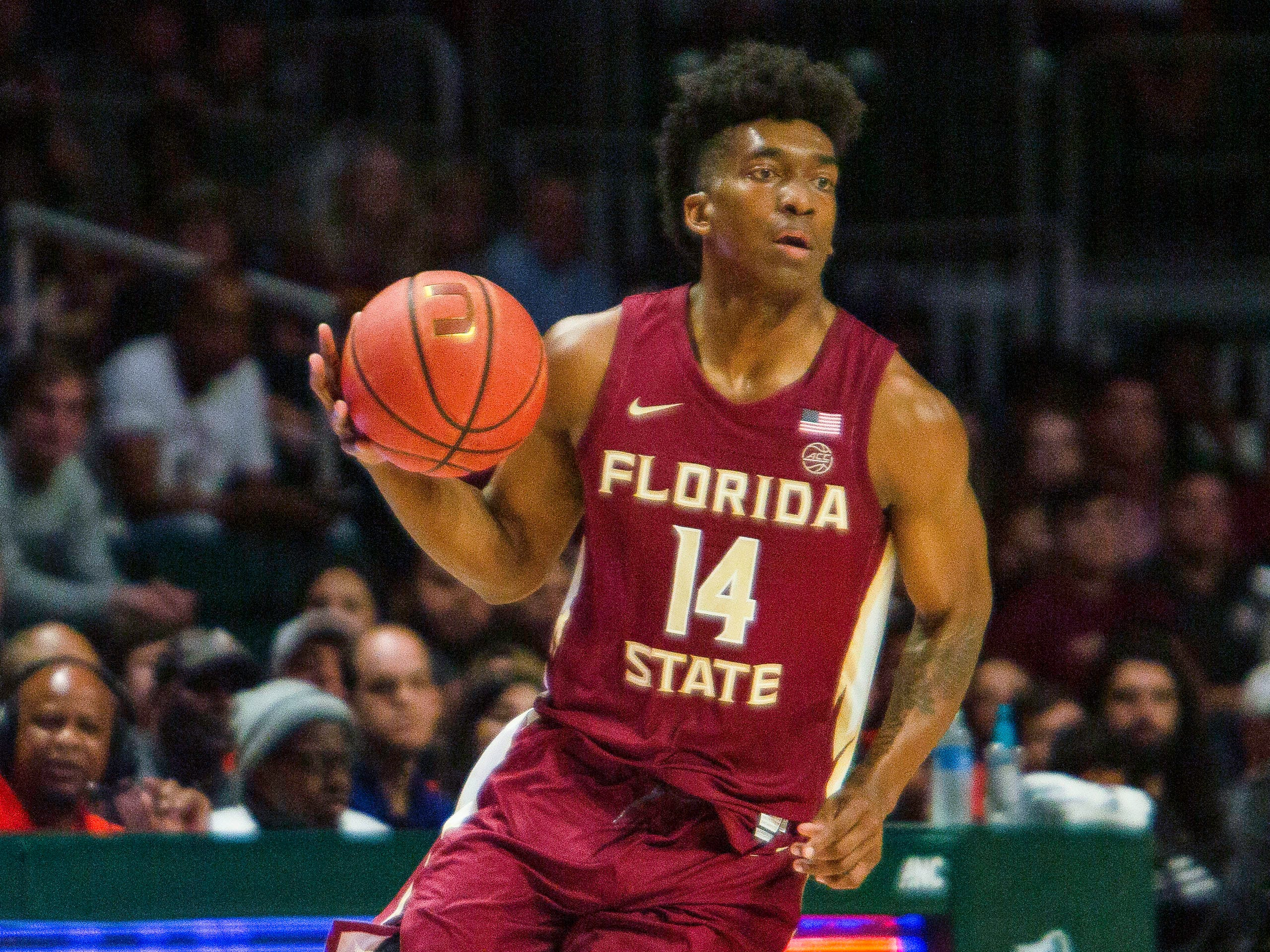Florida State senior guard Terance Mann had 10 points and 10 rebounds against Miami on Sunday night.