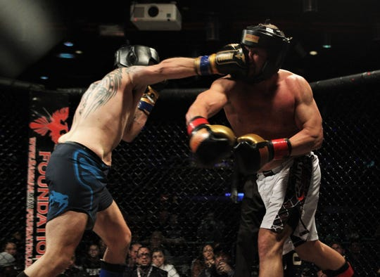 Tallahassee's Josh Lindsey fought and beat Thomasville's Ricky Gipson by unanimous decision during a kickboxing match at Combat Night 100 Pro at The Moon Nightclub on Jan. 26, 2019.