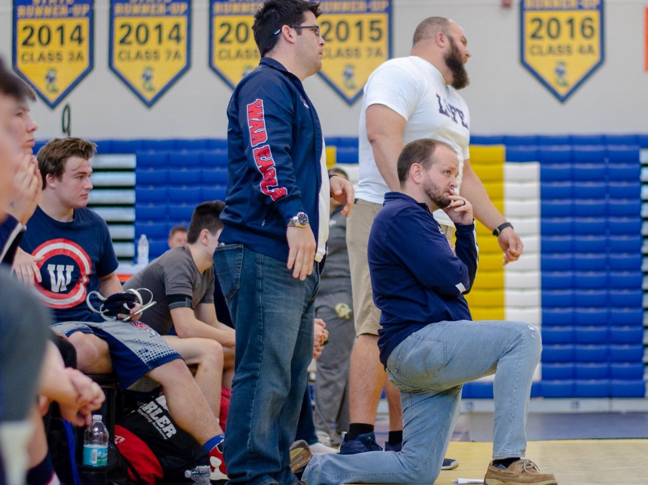 Wakulla wrestling coach Will Pafford watches as his wrestling beat Lemon Bay on Saturday in Kissimmee, advancing to the state championship match of the FHSAA Wrestling Dual State Championships. The War Eagles finished as state runner-up, the first time an area team has finished with a state trophy.
