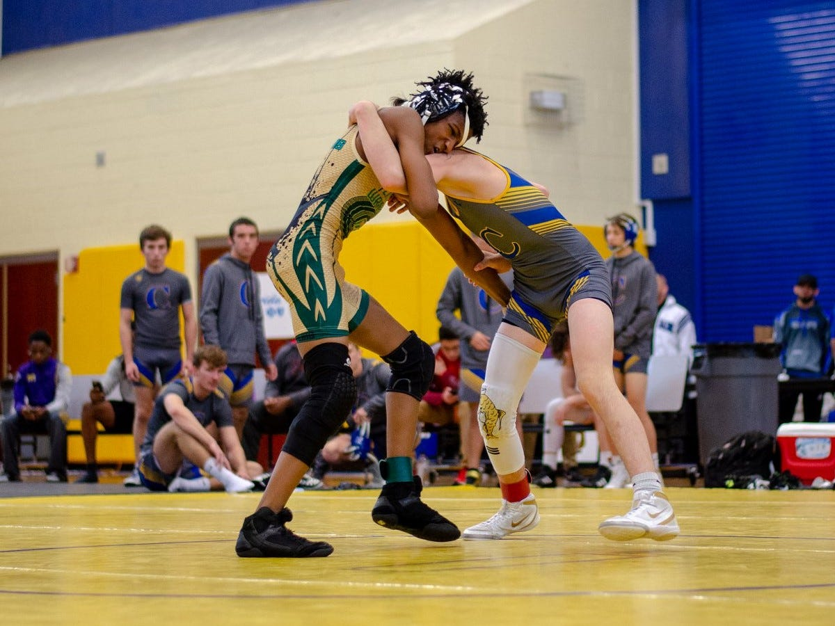 Lincoln's Elijah Hendley wrestles as Lincoln's wrestling team finished in the state semifinals at the FHSAA Wrestling Dual State Championships in Kissimmee.