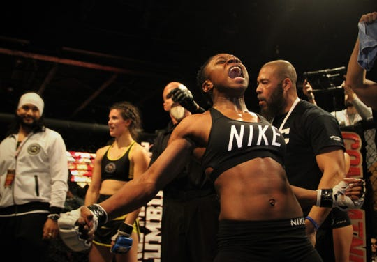 Cairo, Georgia's Betty Collins beat Christina Perez by unanimous decision in an MMA fight during Combat Night 100 Pro at The Moon Nightclub on Jan. 26, 2019.