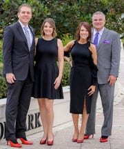 Indian River County Co-Chairs, Eric and Rachel Flowers, left, and Karen and John Franke  for the 2019 Walk a Mile in Her Shoes® set for 5:30to 7:30 p.m. Feb.9 at Oceanside's Sunset Saturday Nights at Humiston Park in Vero Beach.