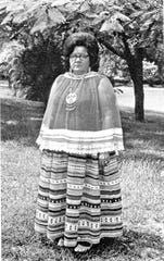 Betty Mae Jumper, Chairwoman of the Seminole Tribe of Florida, in authentic costume in West Hollywood, Florida.