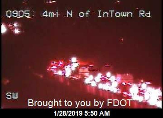 Vehicle fire blocking I95 in Martin County Jan. 28, 2019.