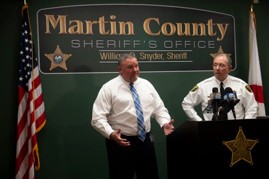 Martin County Lieutenant Michael Dougherty (left) and Sheriff William Snyder address reporters at a news conference Monday, Jan. 28, 2019, at the Martin County Sheriff's Office in Stuart. Former Deputy Steven O'Leary was fired after falsifying narcotics arrests and 11 people have subsequently been freed from the county jail.