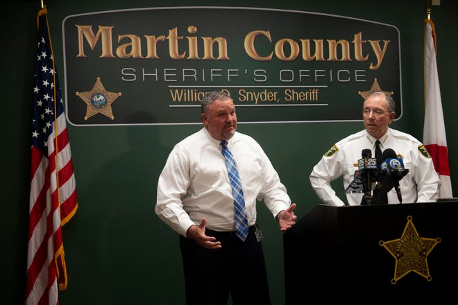Martin County Lieutenant Michael Dougherty (left) and Sheriff William Snyder address reporters at a news conference Monday, Jan. 28, 2019, at the Martin County Sheriff's Office in Stuart. Former Deputy Steven O'Leary was fired after falsifying narcotics arrests and 11 people have subsequently been freed from the county jail at the time of the press conference.