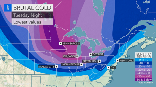 Historically cold weather is expected to chill much of the country this week thanks to a polar vortex.