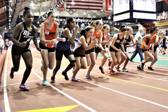 Start of one heat of the girls 1,000 race at the 2019 Westchester indoor championships