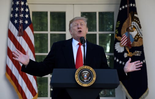 WASHINGTON, DC - JANUARY 25: US President Donald Trump makes a statement announcing that a deal has been reached to reopen the government through Feb. 15 during an event in the Rose Garden of the White House January 25, 2019 in Washington, DC. The White House announced they've reached a deal with Congress to end the shutdown and open the federal government for three weeks to give time to work out a larger immigration and border security deal. (Photo by Olivier Douliery-Pool/Getty Images)