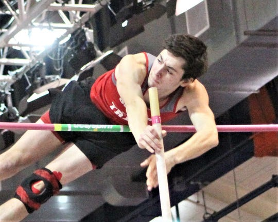 Somers' Michael Altieri competes during the 2019 indoor Westchester boys pole vault championship. He was the title with a personal-best vault of 13-7.