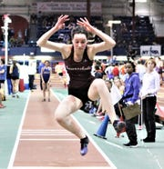 Scarsdale's Bridget Foley competes in the girls 2019 Westchester triple jump championship.