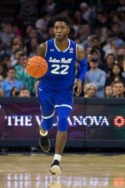 Seton Hall's Myles Cale in action during the second half of an NCAA college basketball game against Villanova, Sunday, Jan. 27, 2019, in Philadelphia. Villanova won 80-52. (AP Photo/Chris Szagola)