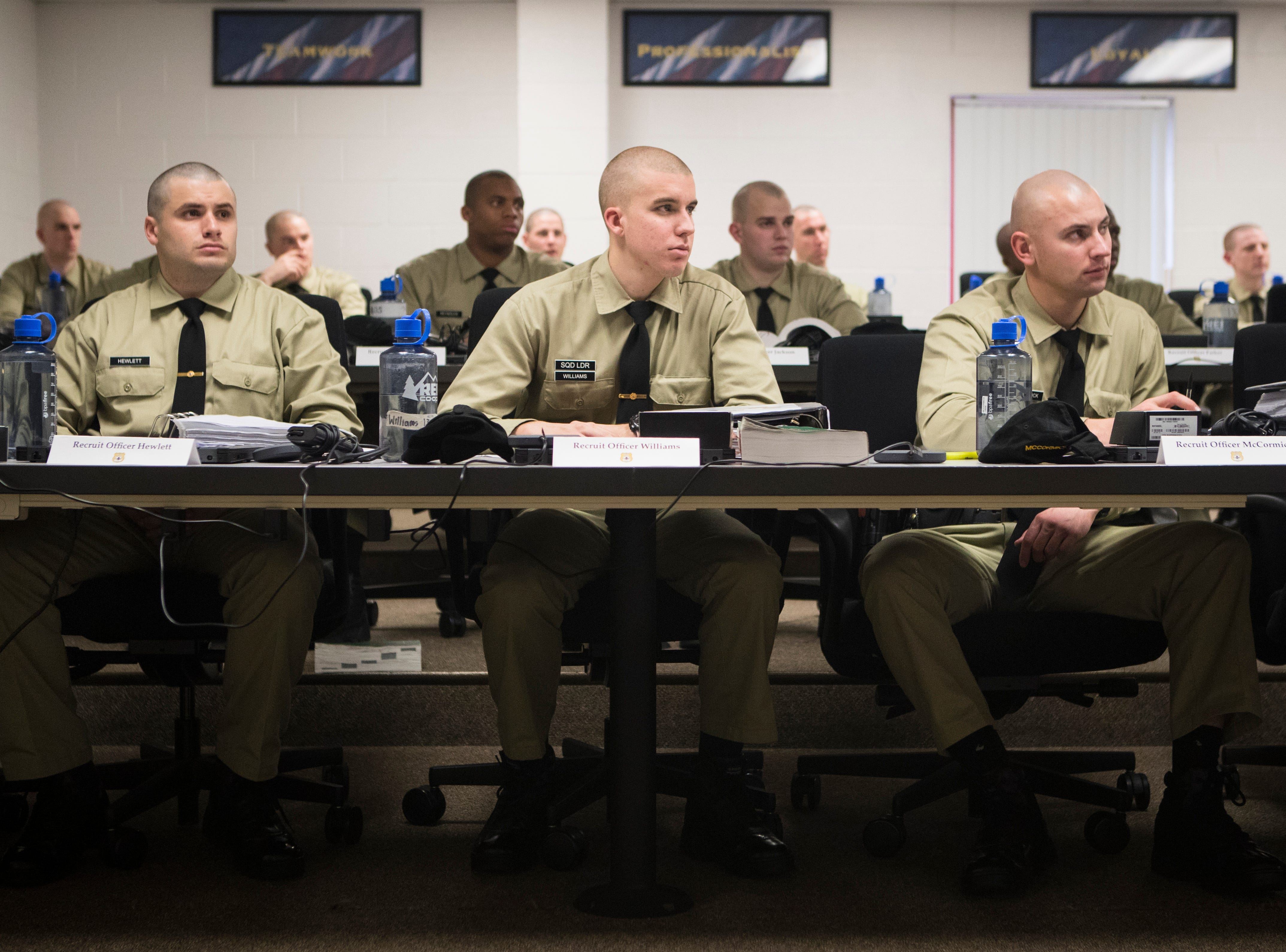 Recruits in the New Castle County Police Academy listen to instruction from Lieutenant Andrew Rubin of the Newark Police Department during a classroom session Thursday, Jan. 24, 2019 at the Lieutenant Joseph L. Szczerba Police Academy.