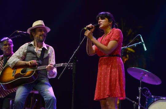 Richard Julian of The Little Willies and Norah Jones perform at the 2013 Stagecoach festival at The Empire Polo Field on April 26, 2013, in Indio, California.