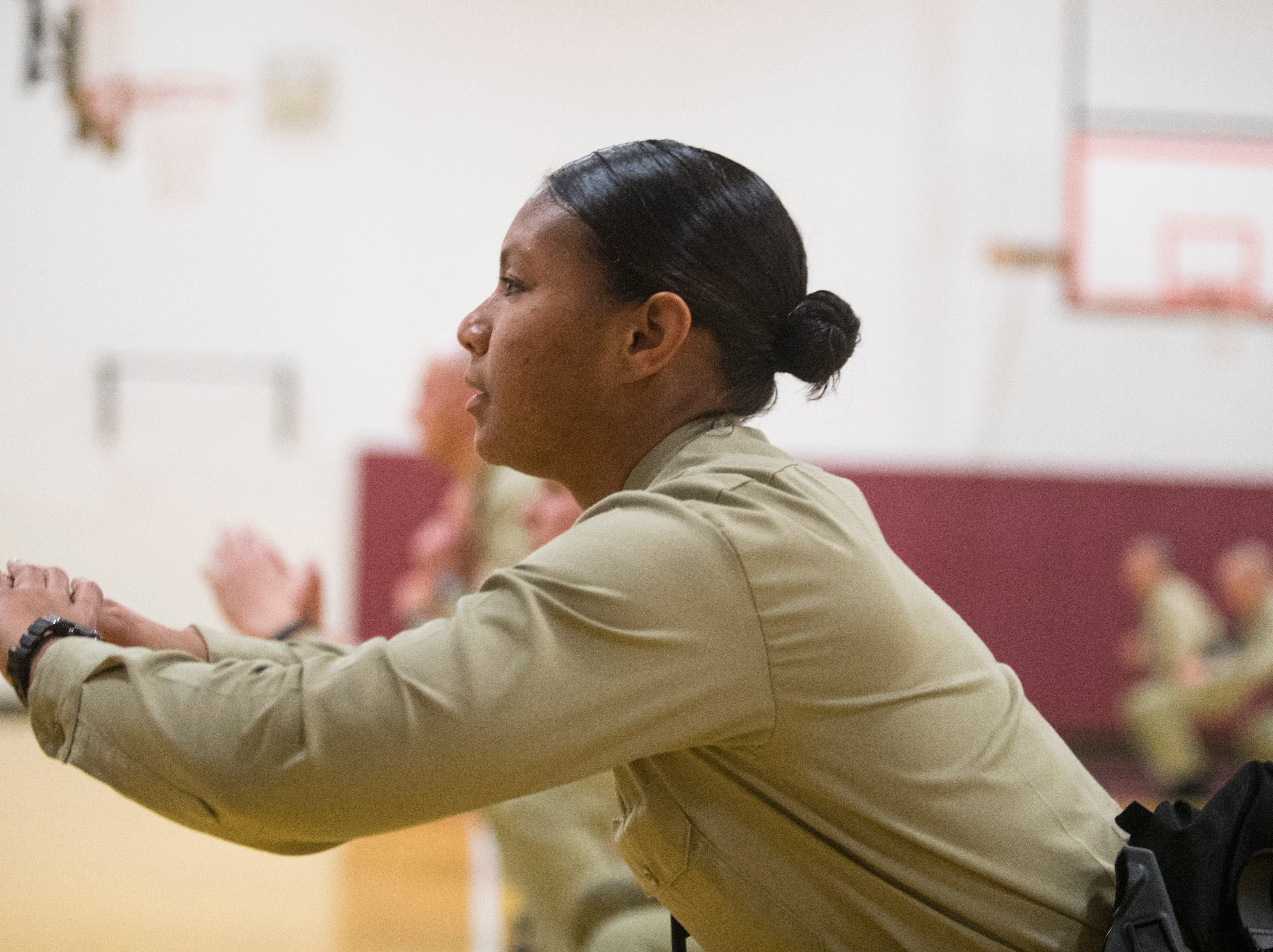 Recruits in the New Castle County Police Academy go through physical training in the gym Thursday, Jan. 24, 2019 at the Lieutenant Joseph L. Szczerba Police Academy.