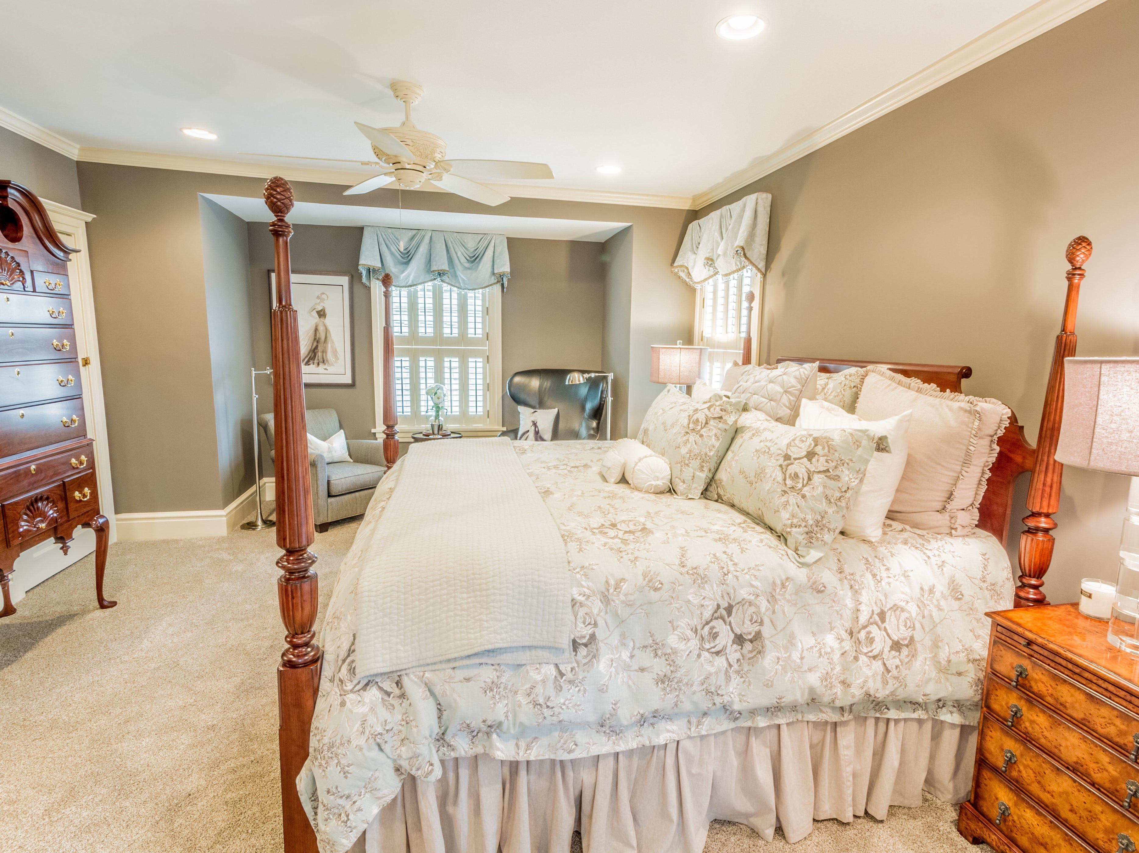 The spacious master bedroomin the house at 1100 North Rodney St. offers recessed lighting.