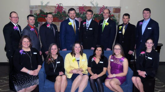 Finalists for the Wisconsin Outstanding Young Farmer award gathered at Comfort Suites in Johnson Creek Jan. 25-27. Pictured are (back row, from left) Evan Hillan, Ladysmith; Ryan Schleis, Kewaunee; Adam Seibel, Bloomer; Brody Stapel, Cedar Grove; Scott Laeser, Argyle; Mark Stoltz, Muscoda; John White, Edgar; and Tony Mellenthin, Eau Galle. (front) Tasha Schleis, Kewaunee;Chrissy Seibel, Bloomer; Carolyn Stapel, Cedar Grove; Chelsea Chandler, Argyle; Cari Stoltz, Muscoda; and Holly White, Edgar.