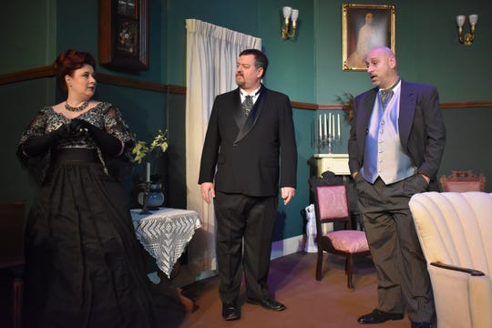 "Jillian Von Gunten, Philip Palmer and Daniel Kelty in a scene from ""The Little Foxes"" opening at the Zanesville Community Theatre."