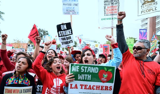 Teachers from the Los Angeles Unified School District and their supporters rally in Los Angeles, California on January 18, 2019.
