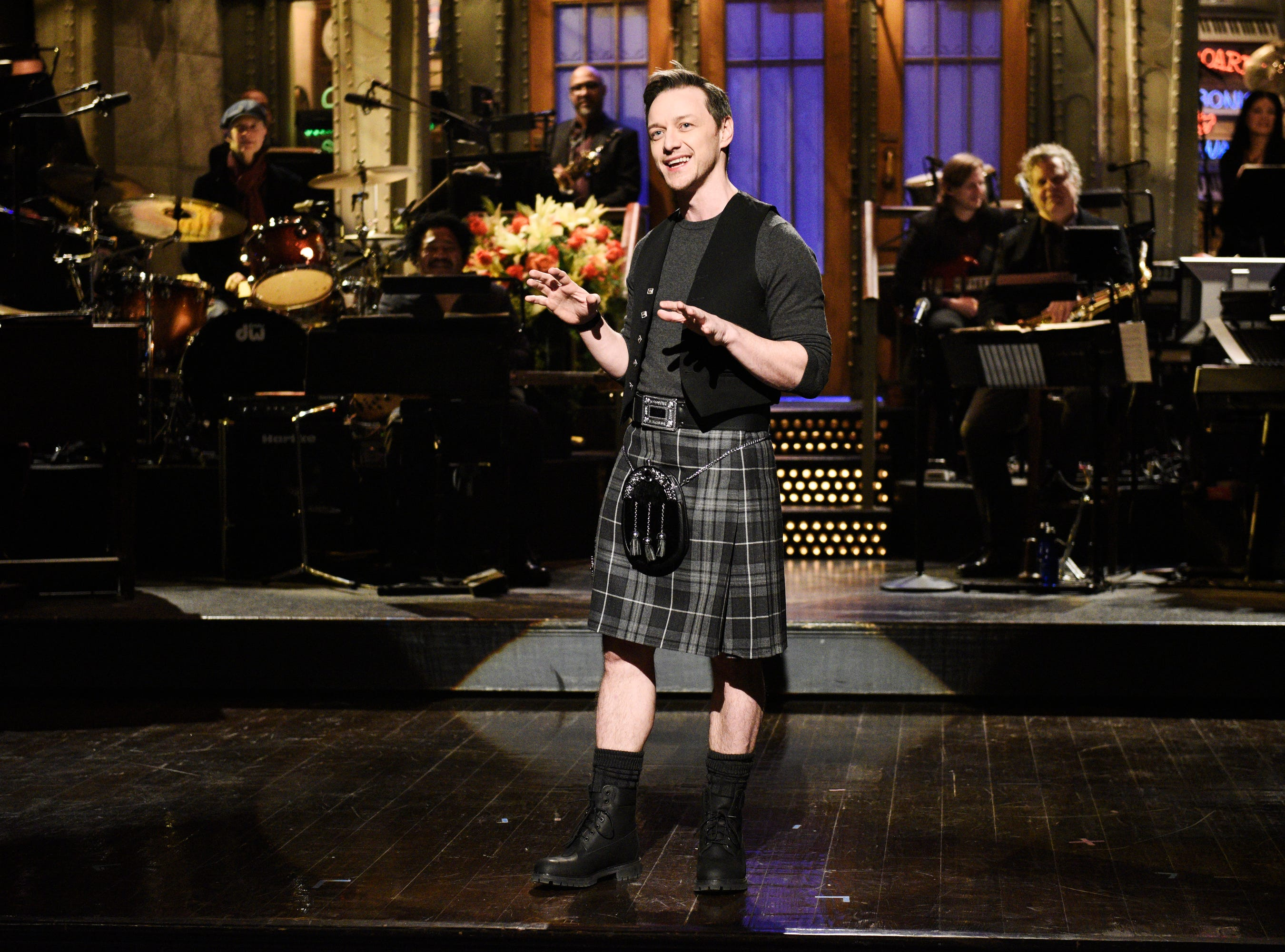 James McAvoy, who hosted the Jan. 26 episode, paid homage to his homeland of Scotland, delivering his monologue in a kilt.