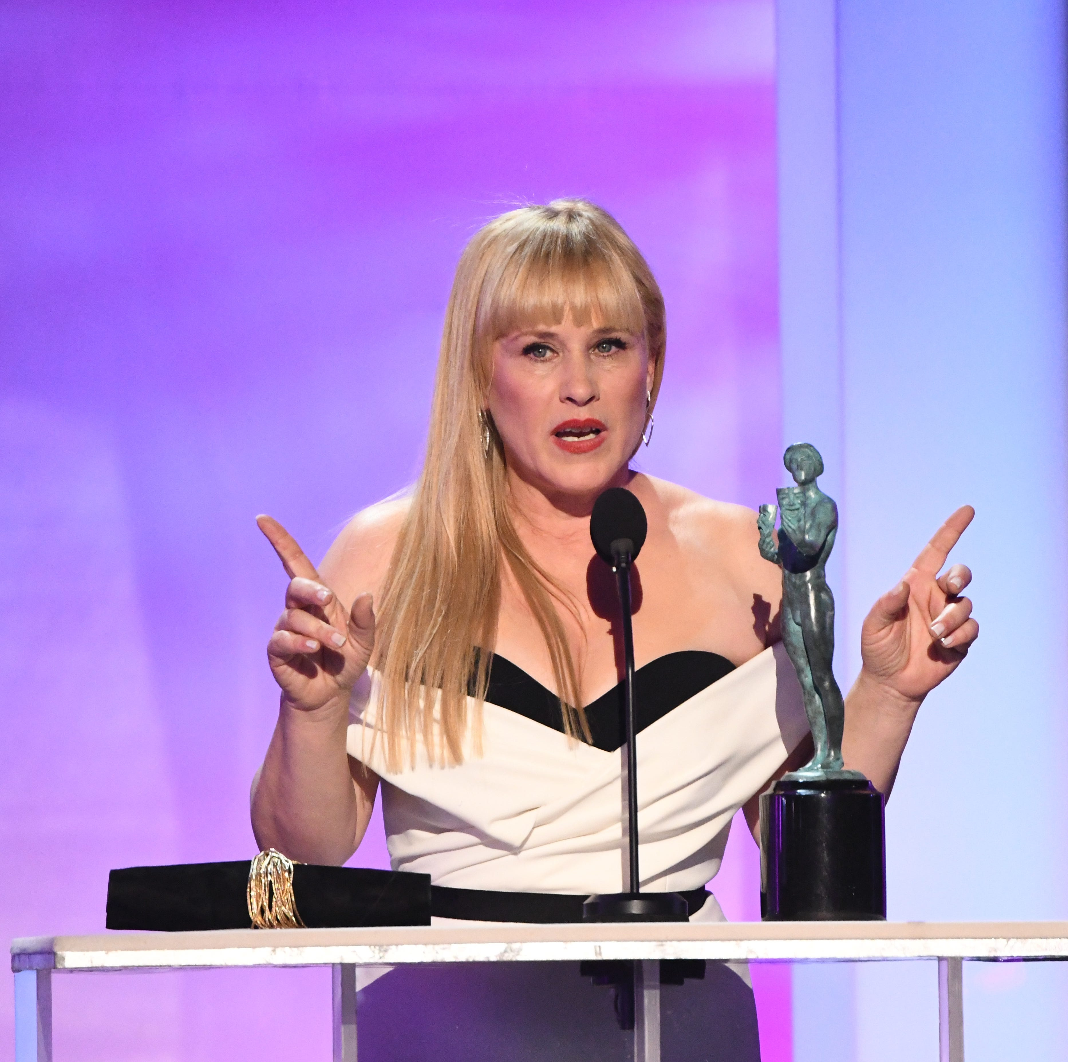 "Patricia Arquette accepts the award for outstanding performance by a female actor in a television movie or limited series for her role as Tilly Mitchell in ""Escape At Dannemora"" at the 25th Annual Screen Actors Guild Awards at the Shrine Auditorium."