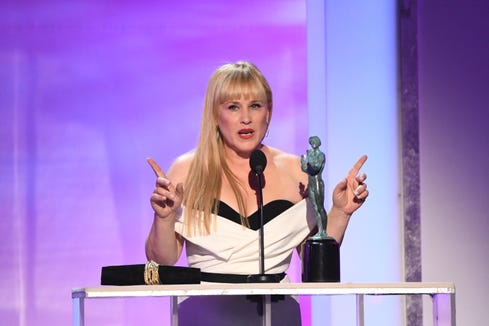 """Patricia Arquette accepts the award for outstanding performance by a female actor in a television movie or limited series for her role as Tilly Mitchell in """"Escape At Dannemora"""" at the 25th Annual Screen Actors Guild Awards at the Shrine Auditorium."""