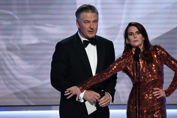 Alec Baldwin and Megan Mullally present the award for outstanding performance by a male actor in a comedy series the 25th Annual Screen Actors Guild Awards at the Shrine Auditorium on Jan. 27, 2019 in Los Angeles.