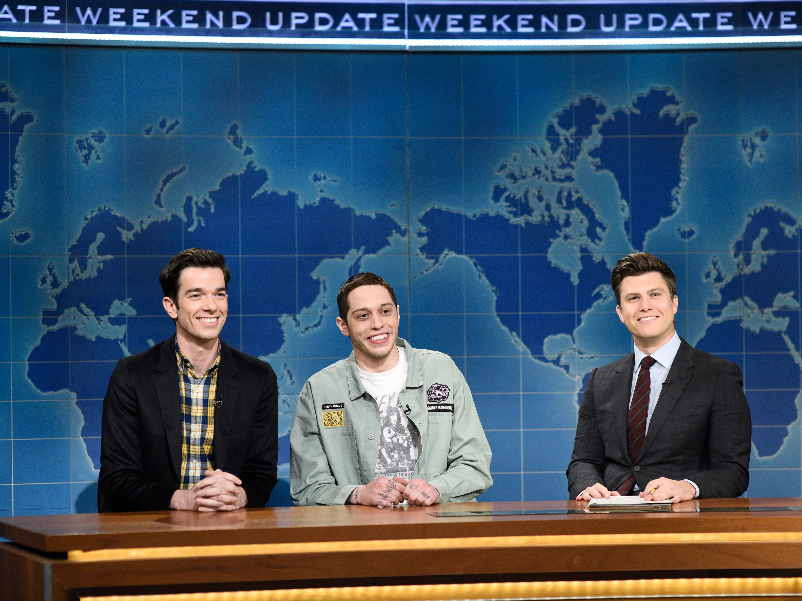 "Former ""SNL"" writer John Mulaney made a surprise appearance on the the Jan. 19 edition of ""Weekend Update"" to tell anchor Colin Jost that he's been mentoring cast member Pete Davidson,  Davidson,  saying ""I'm trying to show him you can have a life in comedy that's not insane."" Davidson, who has been open about his mental-health struggles retorted, ""After observing John's life, I publicly threatened suicide."""
