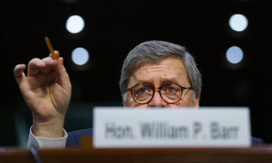 Attorney General nominee William Barr testifies on Jan. 15, 2019.