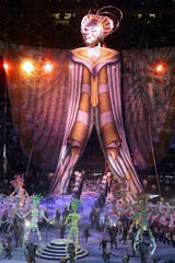 One of the insane set pieces at the 2000 halftime show.