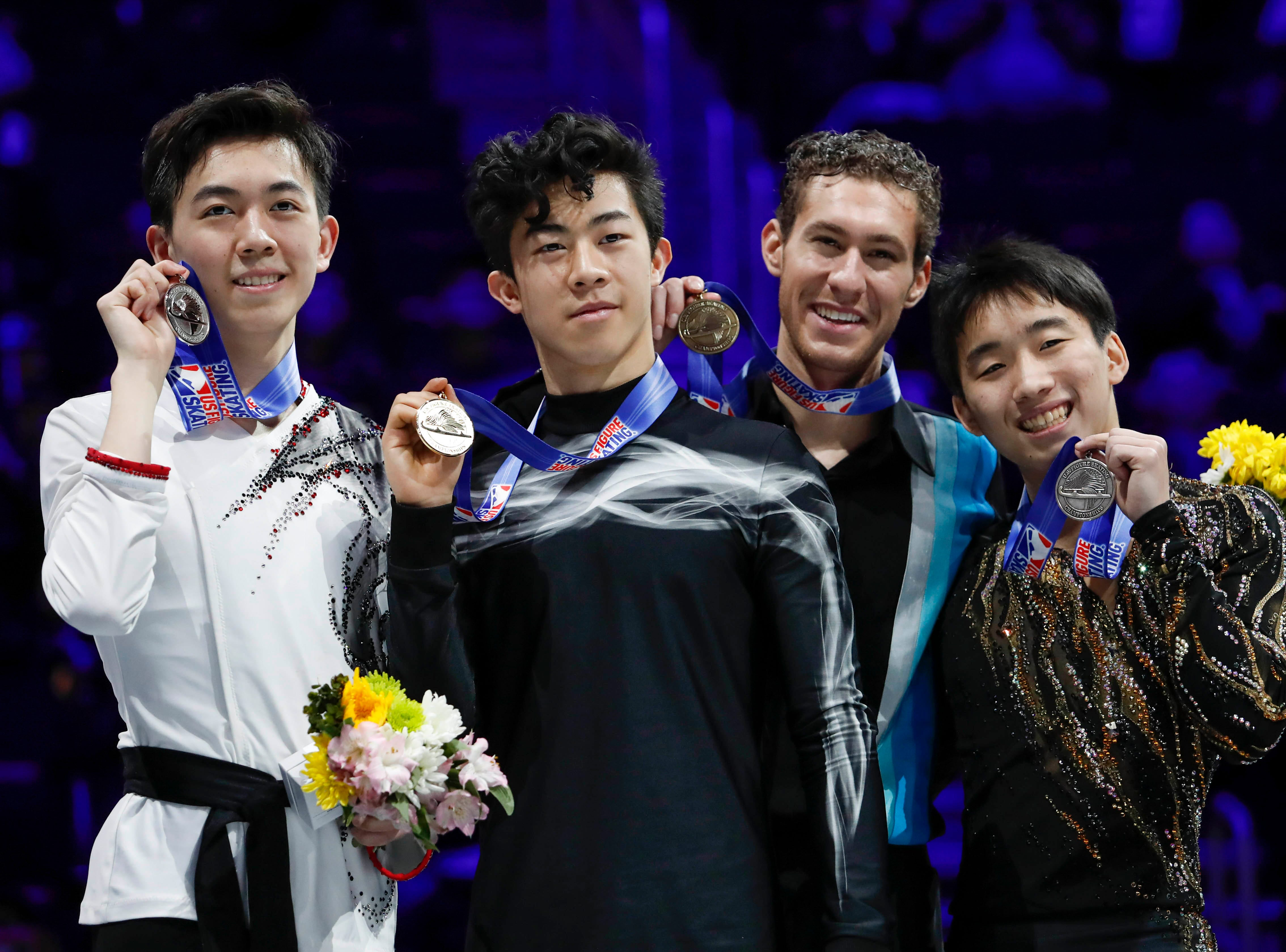(Left to right) Vincent Zhou (silver medal), Nathan Chen (gold medal), Jason Brown (bronze medal) and Tomoki Hiwatashi (pewter medal) celebrate during the award ceremony for the senior men's championship at the 2019 Geico U.S. Figure Skating Championships.