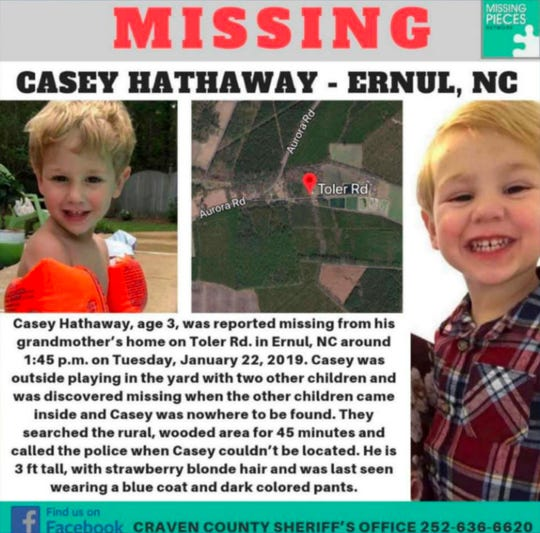 The Craven County Sheriff's Office posted an online notice about missing Casey Hathaway.
