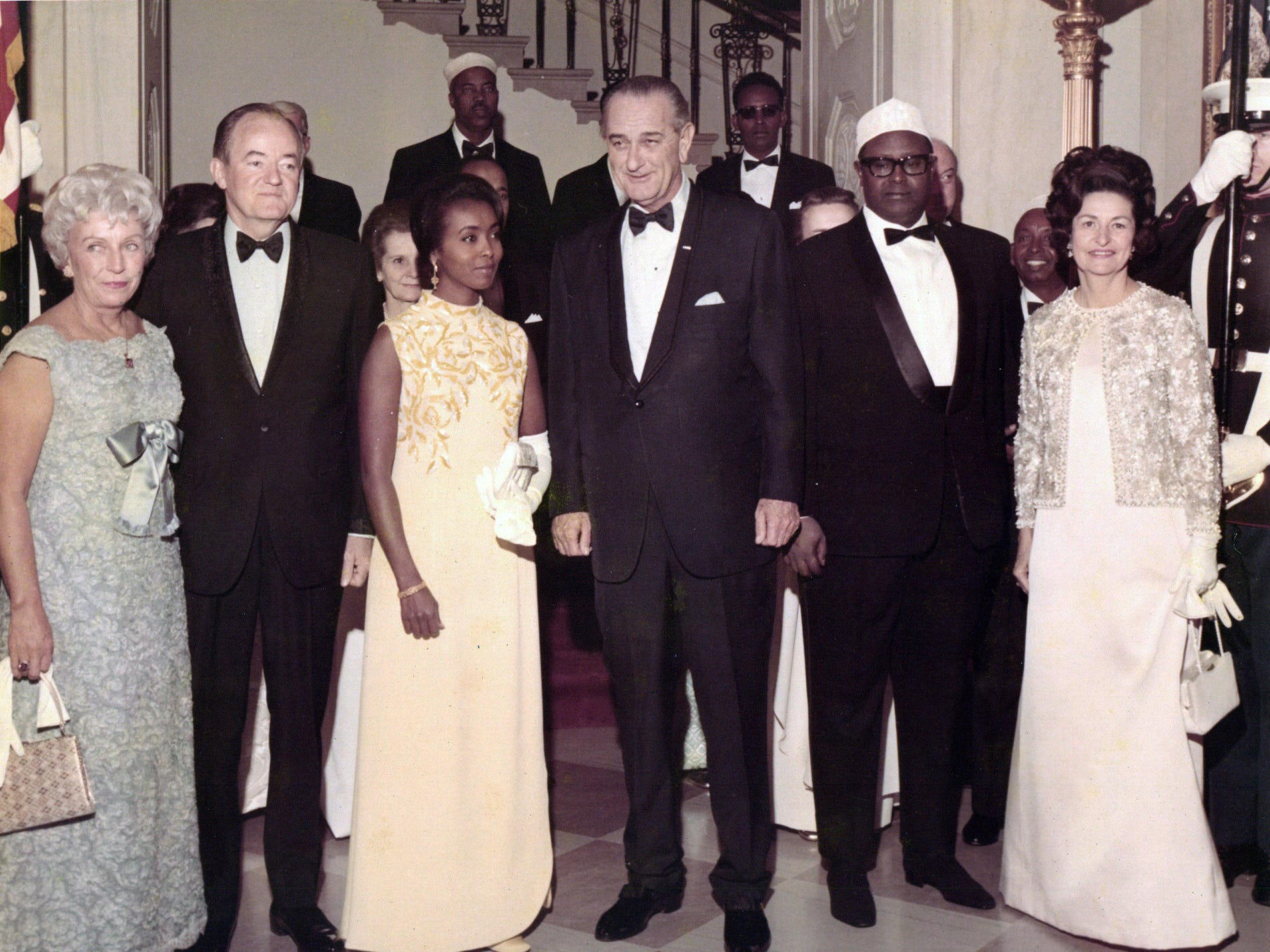 """Part of the """"Somalis + Minnesota"""" exhibit at the Minnesota History Center in St. Paul, a photo of Somali Prime Minister Mohamed Haji Ibrahim Egal with President Lyndon Johnson and Vice President Hubert Humphrey in Washington, D.C, in March 1968."""
