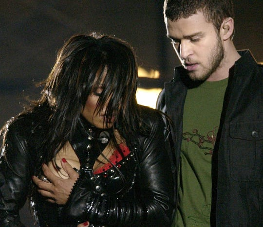 Janet Jackson and Justin Timberlake's 2004 Super Bowl halftime show disaster.