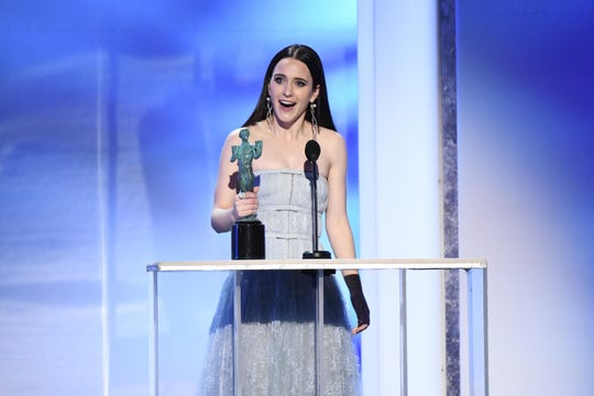Rachel Brosnahan is named best female actor in TV comedy at the SAG Awards.
