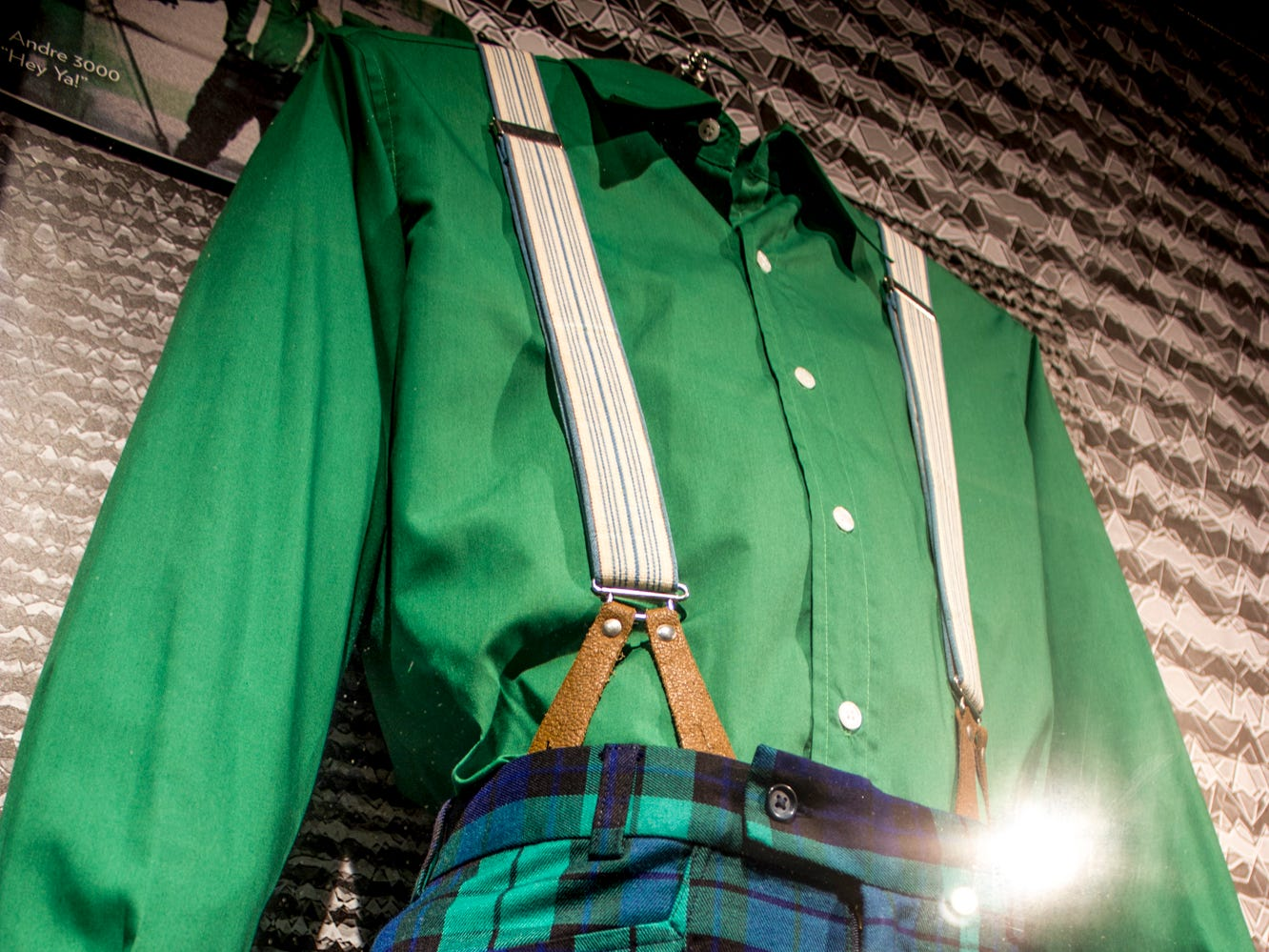 """Part of the """"Stay Tuned: Rock on TV"""" exhibit at the Rock & Roll Hall of Fame, Andre 3000 wore this outfit in Outkast's music video for """"Hey Ya!"""" The video was inspired by the Beatles' debut performance on """"The Ed Sullivan Show."""""""