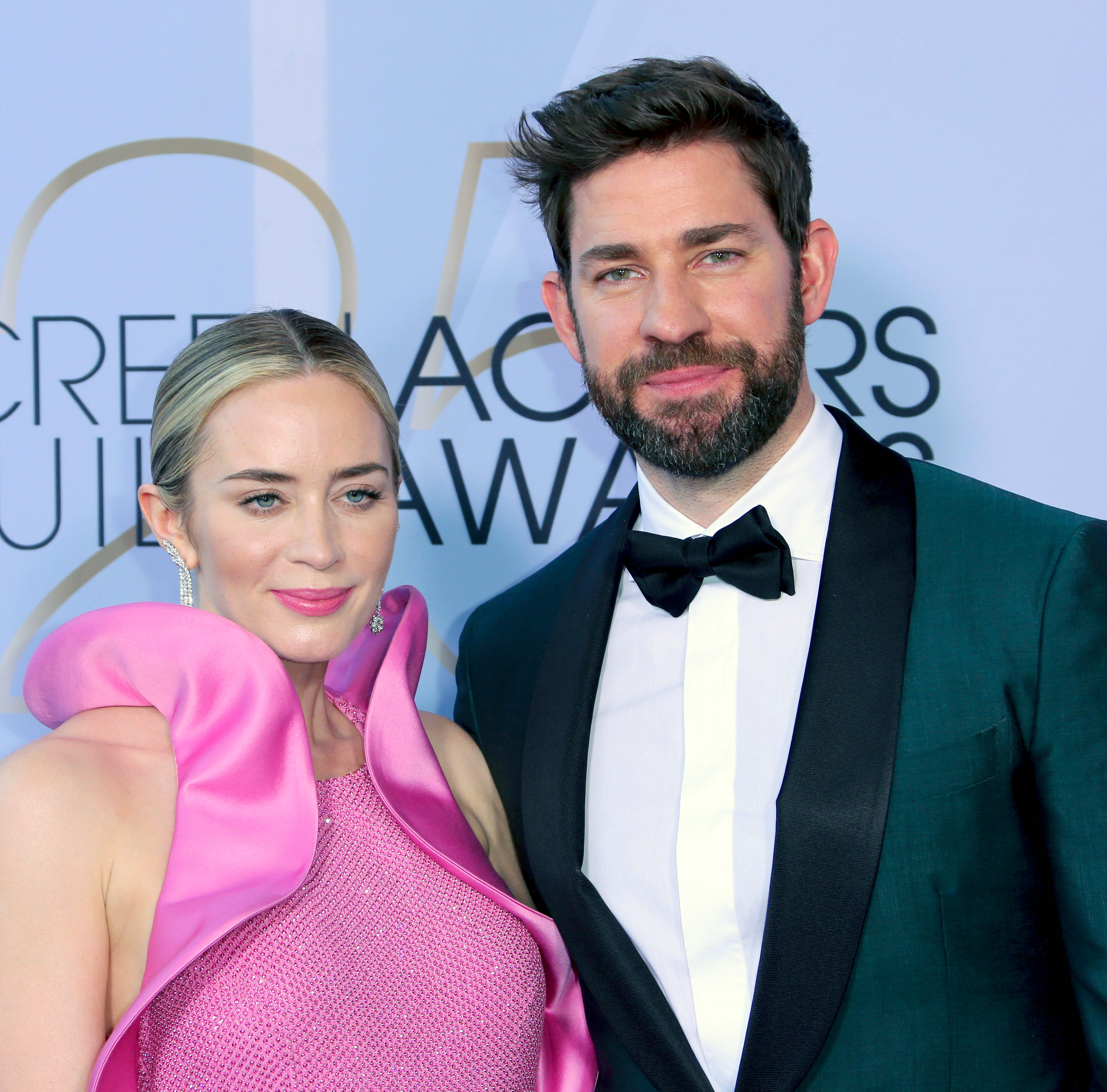 Emily Blunt and John Krasinski arrive at the 25th annual Screen Actors Guild Awards on Sunday, Jan. 27, 2019, in Los Angeles.