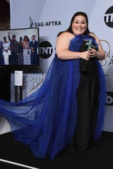 Chrissy Metz backstage at the SAG Awards.