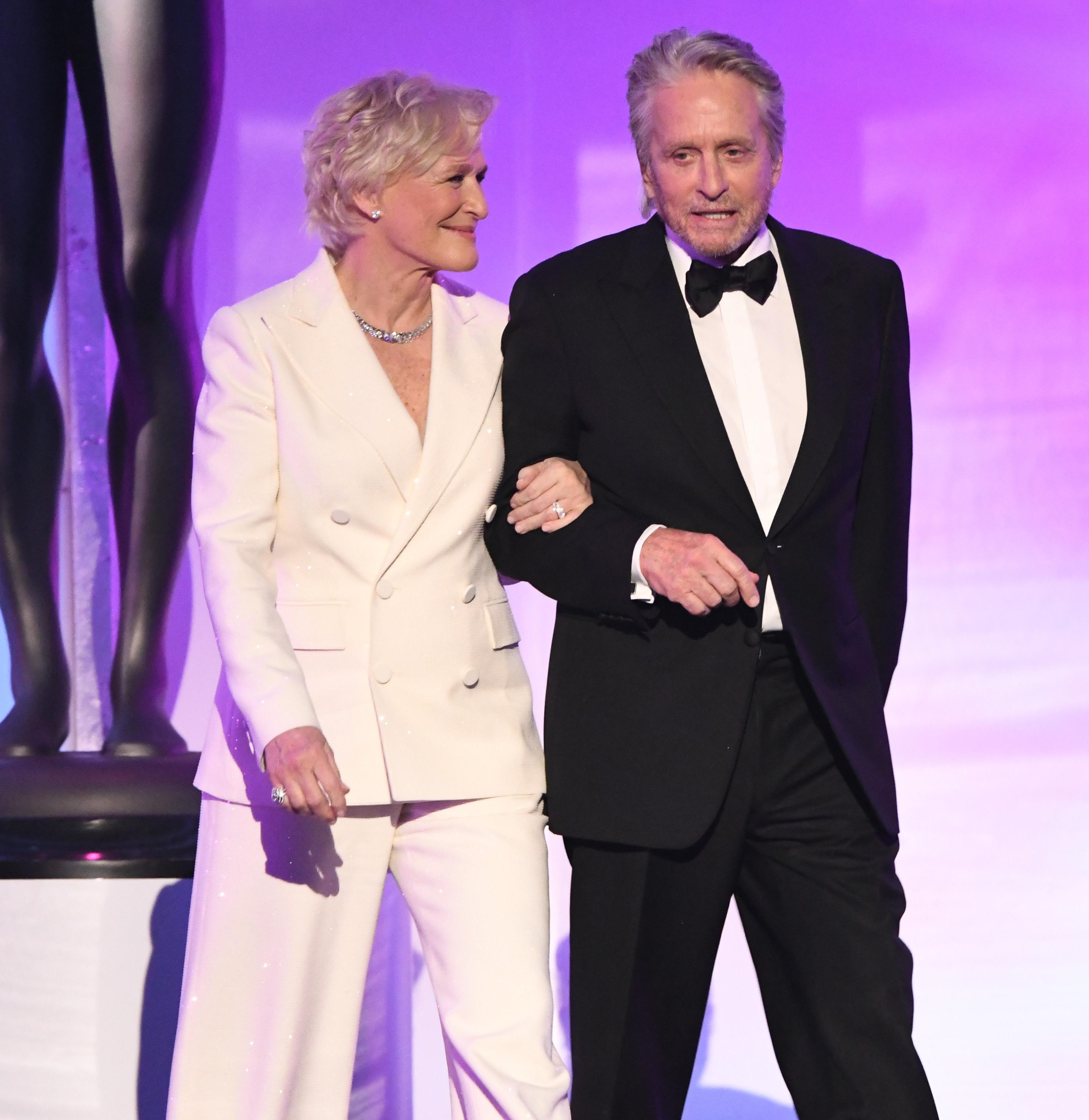Glenn Close and Michael Douglas present the award for outstanding performance by a female actor in a television movie or limited series.