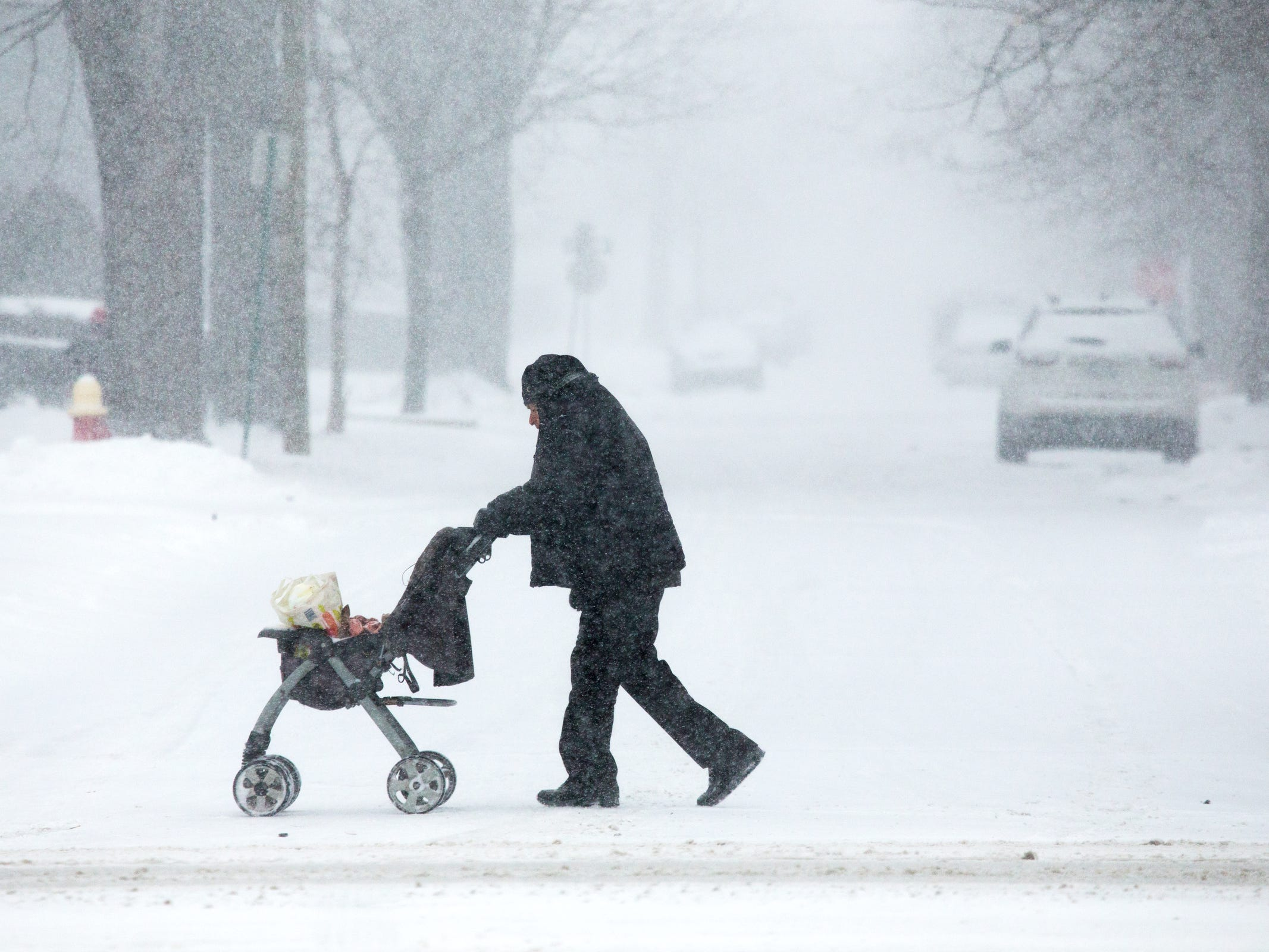 A man pushes a stroller with groceries as flurries swirl around in Detroit, Jan. 28, 2019.