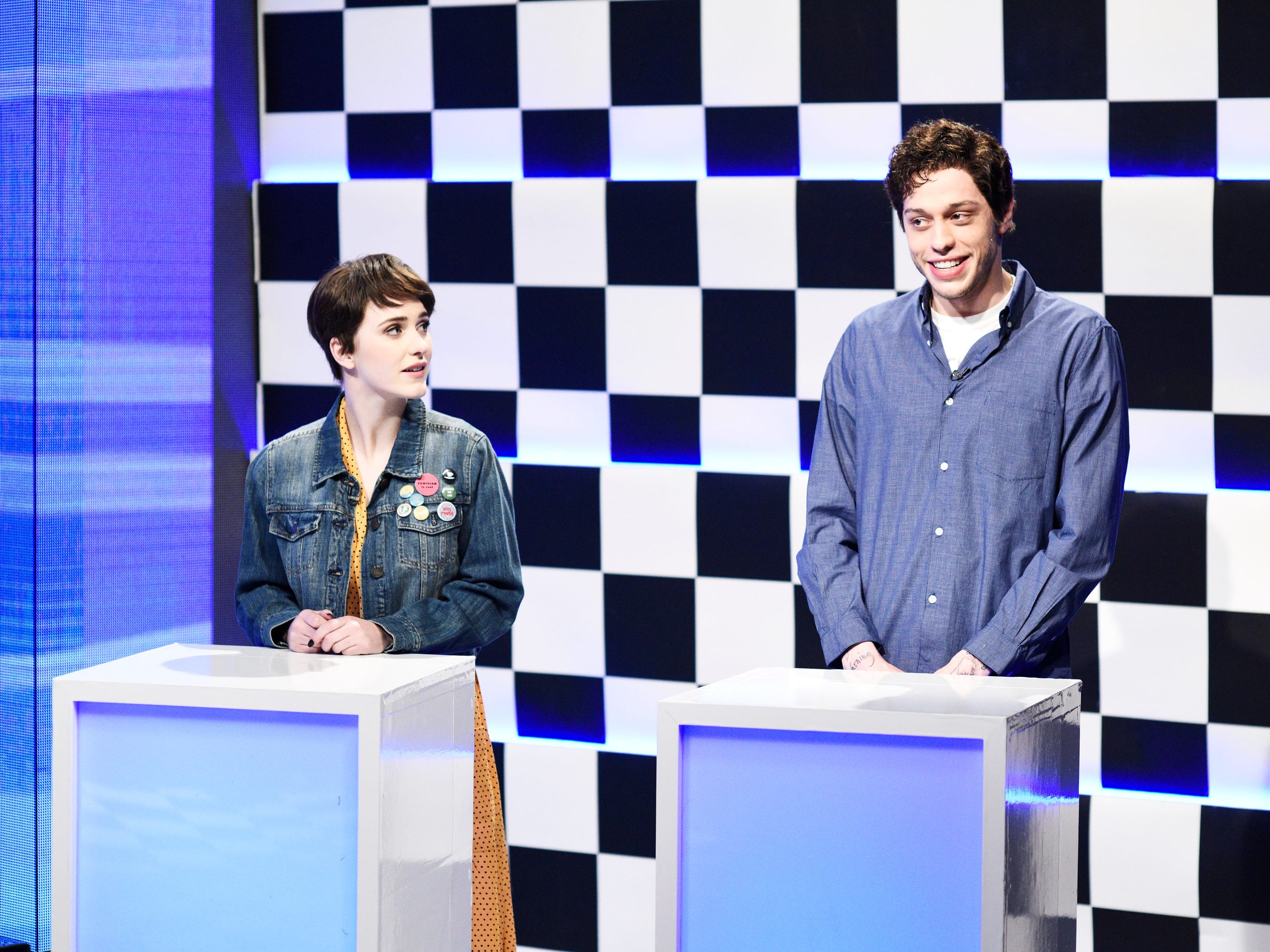 On the  Jan. 19 episode, host Rachel Brosnahan took part in a game show  pitting Millennials against Baby Boomers  alongside Pete Davidson.