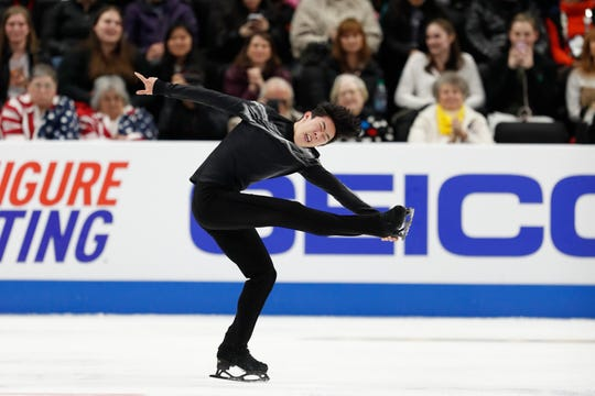 Nathan Chen performs in the men's free skate competition during the 2019 Geico U.S. Figure Skating Championships at Little Caesars Arena.