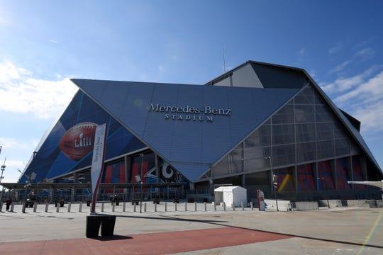 Mercedes-Benz Stadium, site of Super Bowl LIII between the Rams and  Patriots.