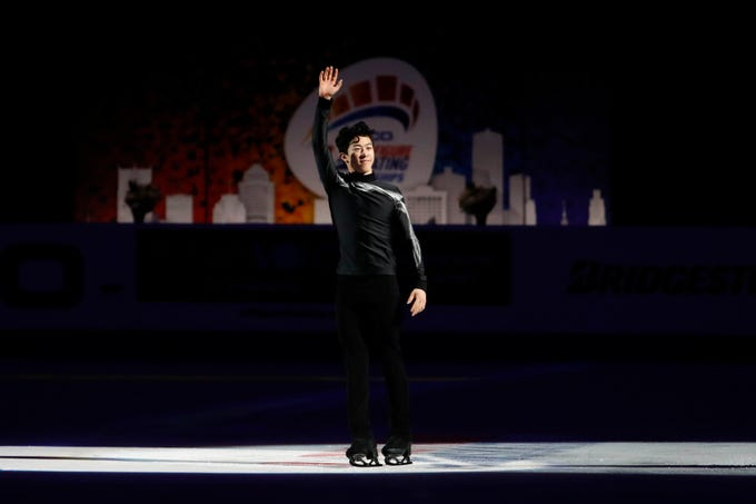 Nathan Chen skates onto the ice during the award ceremony after winning the gold medal in the senior men's championship during the 2019 Geico U.S. Figure Skating Championships.