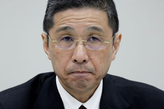 Nissan Motor Co. President and CEO Hiroto Saikawa reacts during a press conference at the company's global headquarters in Yokohama, south of Tokyo, Japan, 24 January 2019.