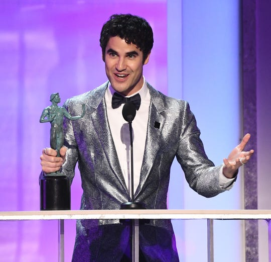 "Darren Criss accepts the award for outstanding performance by a male actor in a television movie or limited series for his role as Andrew Cunanan in ""The Assassination Of Gianni Versace:  American Crime Story."""