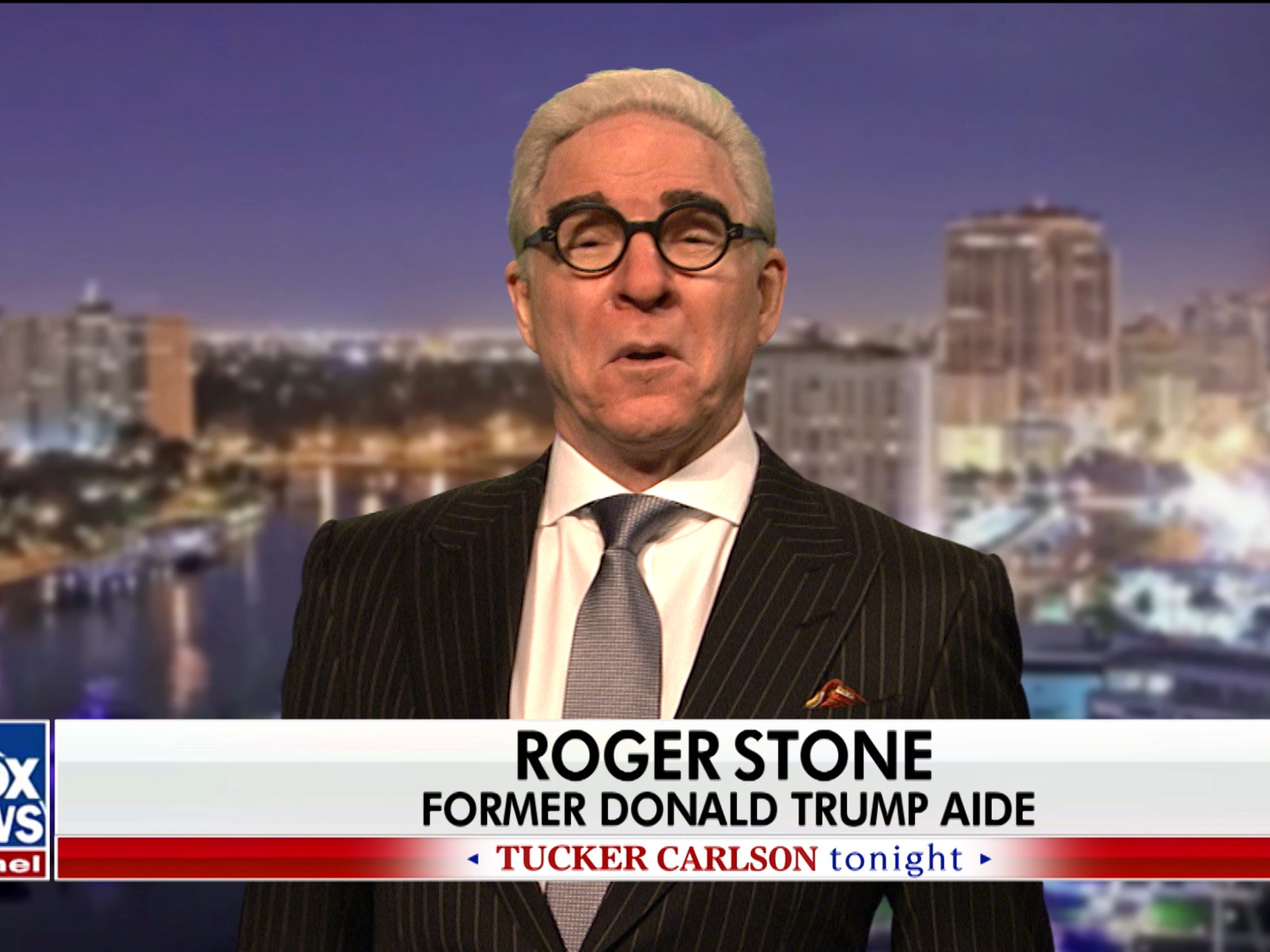"Steve Martin made a surprise appearance as Trump aide Roger Stone to kick off the Jan. 26 episode ""Saturday Night Live."" The appearance, a day after Stone was arrested in Florida and charged with lying to investigators, obstruction and witness tampering in the Russia investigation, was part of a parody of Tucker Carlson's Fox News show."